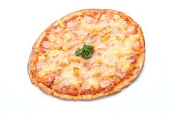Hawajska pizza na białym tle Zdjęcia Royalty Free