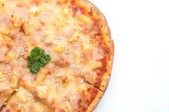 Hawajska pizza na białym tle Fotografia Stock