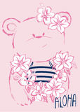 Hawajski Śliczny dziecko niedźwiedź royalty ilustracja