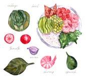 Hawajski krewetkowy bowlswatercolor, trende jedzenie royalty ilustracja