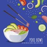 Hawajski potrącenie tuńczyka puchar z łękiem, ryż, avocado, pomidorem, zielonym grochem i sezamem, ilustracja wektor