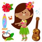 Hawajskiego hula dancingowa dziewczyna Wektorowa Hawaje kolekcja Obrazy Royalty Free