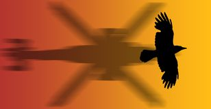 Hawk. A hawk flying with shadow - silhouette Royalty Free Stock Photo