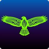 Hawk. Tribal inspired hawk design on blue Royalty Free Stock Photography