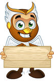 A Hawk Boy - Holding Wooden Sign Royalty Free Stock Image