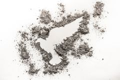 Hawk, falcon or eagle bird drawing silhouette. Made in ash or dust as a extinction concept, phoenix birth or rebirth background Stock Photography