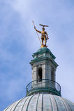 Hawk Flying by the Independent Man, Providence, RI. Royalty Free Stock Images