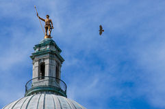 Hawk Flying by the Independent Man, Providence, RI. Royalty Free Stock Photos
