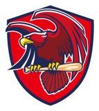 Hawk hold baseball bat. Vector of hawk hold baseball bat Royalty Free Stock Image