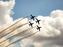 Hawk jet aircraft aerobatic team. royalty free stock photography