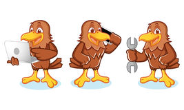 Hawk Mascot Vector with phone Royalty Free Stock Images
