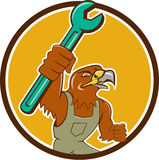 Hawk Mechanic Pipe Spanner Circle-Beeldverhaal Royalty-vrije Stock Fotografie