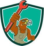Hawk Mechanic Pipe Spanner Crest-Beeldverhaal Stock Foto's