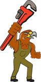 Hawk Mechanic Pipe Wrench Cartoon Lizenzfreie Stockbilder