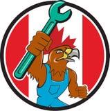 Hawk Mechanic Spanner Canada Flag-Beeldverhaal Royalty-vrije Stock Afbeeldingen