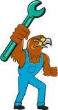 Hawk Mechanic Standing Pipe Spanner-Karikatur Lizenzfreie Stockfotografie
