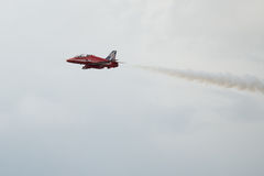 Hawk T1 jet on air show. Air show, Hawk T1 jet with colored smoke on air show Stock Photography