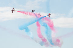 Hawk T1 jets on air show. Air show, Hawk T1 jets with colored smoke on air show Royalty Free Stock Photo