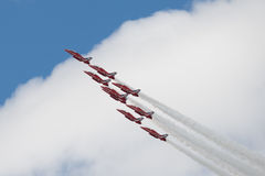 Hawk T1 jets on air show. Air show, Hawk T1 jets with colored smoke on air show Royalty Free Stock Image