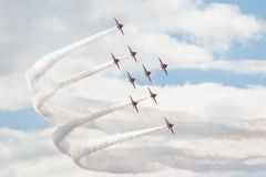 Hawk T1 jets on air show. Air show, Hawk T1 jets with colored smoke on air show Royalty Free Stock Images
