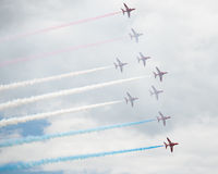 Hawk T1 jets on air show. Air show, Hawk T1 jets with colored smoke on air show stock image