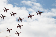 Hawk T1 jets in arrow formation. Air show, Hawk T1 jets in arrow formation in the sky Royalty Free Stock Photo