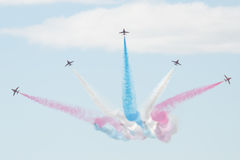 Hawk T1 jets with colored smokes. Air show, Hawk T1 jets Stock Image