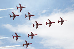Hawk T1 jets in formation on air show. Air show, Hawk T1 jets in arrow formation close up Royalty Free Stock Photography