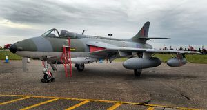 Hawker Hunter British Vintage Jet Fighter Designed By Sydney Camm Of Hurricane Fame. Stock Photography