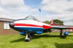 Hawker Hunter F51. Is pictured at Solway Aviation Museum in Cumbria, England. The jet flew with the Danish Air Force as an interceptor, bomber and trainer royalty free stock image