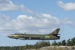 Hawker Hunter fighter aircraft flying low Stock Images