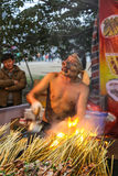 The hawker with a mask selling barbecue in lantern show, chengdu,china Royalty Free Stock Photography