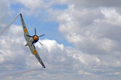 Hawker Sea Fury 124. In flight expertly piloted by Brian Sanders Royalty Free Stock Photo