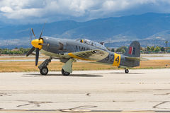 Hawker Sea Fury T.Mk.20 on display. Chino, USA - May 7 2017: Hawker Sea Fury T.Mk.20 on display during Planes of Fame Air Show in Chino Airport Royalty Free Stock Photos