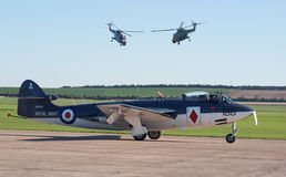 Hawker Sea Hawk with two Lynx helicopters Stock Image