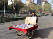Hawker sell album in winter Royalty Free Stock Photography