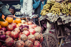 The hawker sell his fruits in Thamel in Katmandu, Nepal. Stock Images