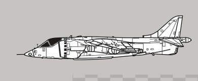 Hawker Siddeley Harrier GR.1, AV-8A, Matador. Vector drawing of VSTOL attack aircraft.