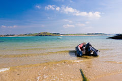 Hawkers Cove. Boat moored at Hawkers Cove near Padstow on the Camel Estuary Cornwall England UK royalty free stock images