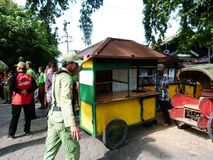 Hawkers. Government employees to curb hawkers on the streets in the city of Solo, Central Java, Indonesia stock photo