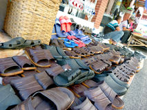 Hawkers. Selling slippers and shoes on the roadside in the village of Sukoharjo, Central Java, Indonesia royalty free stock photography