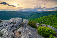 Hawkesbill Mountain, North Carolina. Summer sunset from Hawkesbill Mountain in North Carolina. This image is looking up Linville Gorge towards Linville Falls Royalty Free Stock Photos