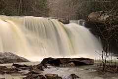 Hawks Nest Waterfall. Long exposure photo of a waterfall below Hawks Nest State Park after a heavy rainstorm Royalty Free Stock Photos