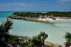 Hawksbill Cay. Cristal clear water on the shallow creek of Hawksbill Cay. Exuma. Bahamas royalty free stock photos