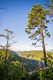 Hawksbill Mountain at Linville gorge with Table Rock Mountain la Stock Images