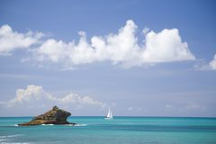 Hawksbill Rock, Antigua. The famous Hawksbill Rock on the shores of the Caribbean island of Antigua Stock Photos