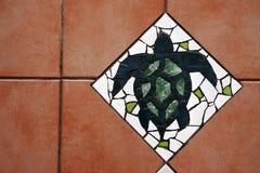 Hawksbill Sea Turtle Floor tiles background Stock Image