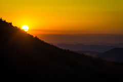 Hawksbill Sunrise. Linville Gorge Sunrise over Hawksbill Mountain. Taken from Wiseman's View stock images