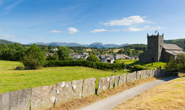 Hawkshead Lake District England uk on a beautiful sunny summer day popular tourist village Royalty Free Stock Photography