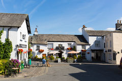 Hawkshead village Lake District England uk on a beautiful sunny summer day popular tourist village Stock Photography
